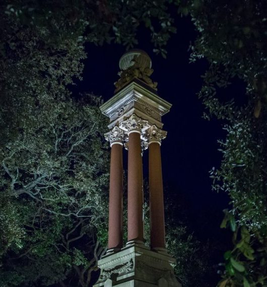 The gothic monuments of Wright Square in Savannah, home of ghosts and strange stories