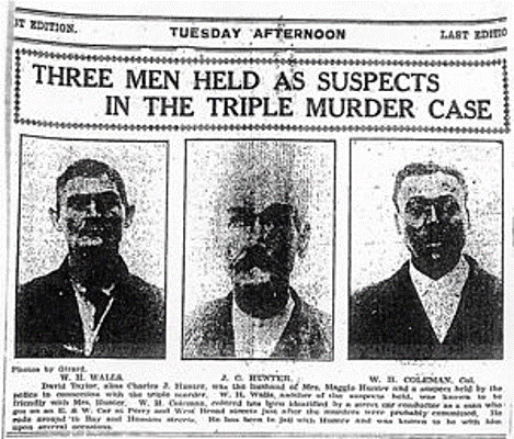 the three suspects in the triple murder
