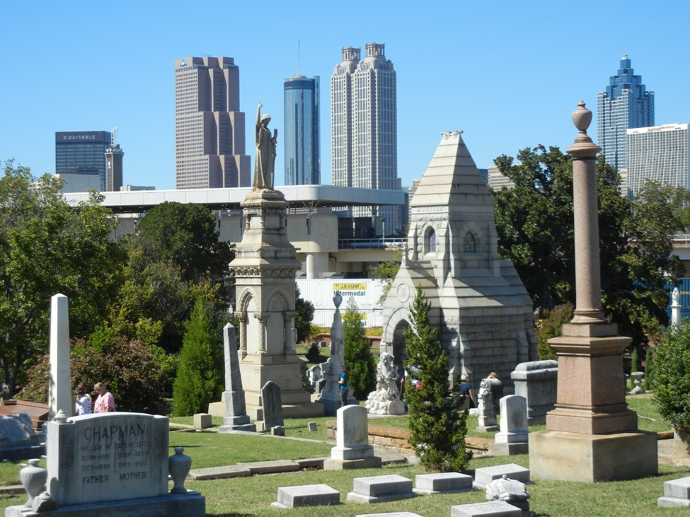 A colour photo of the Savannah skyline Taken form a graveyard that is known to be haunted