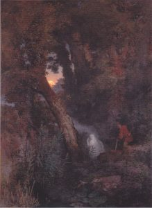 An 1882 oil painting of a will-o'-the-wisp by Arnold Böcklin.