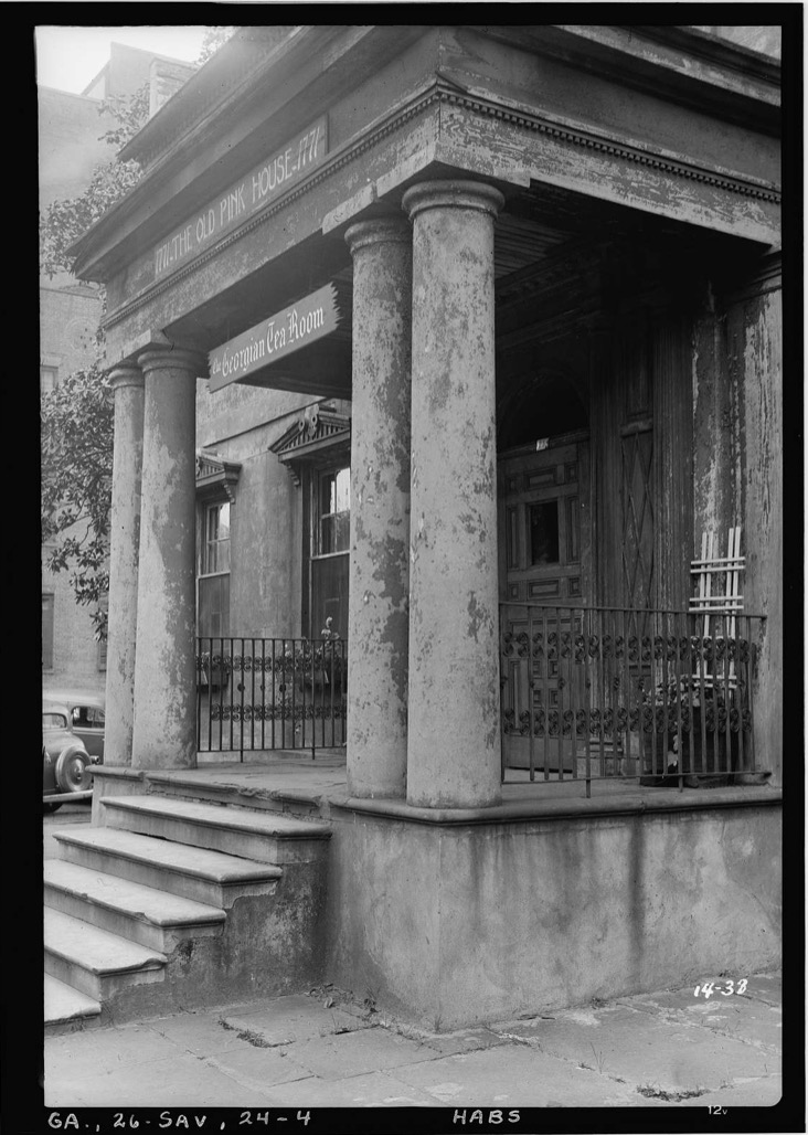Historic photo of the portico of the Habersham House.