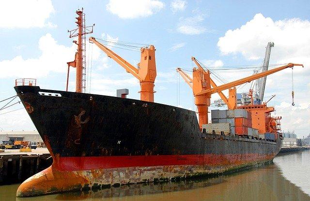 Old rusty cargo ship at the Port of Savannah